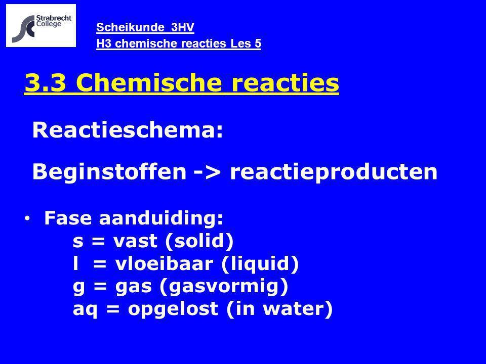 Scheikunde 3HV H3 chemische reacties Les 5