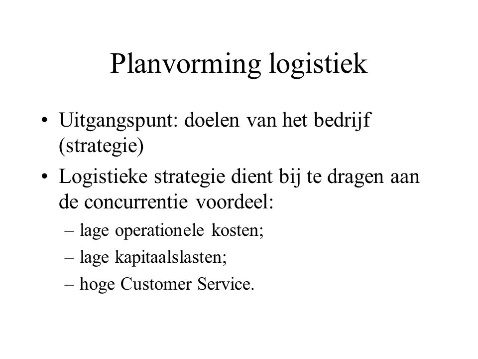 Planvorming logistiek