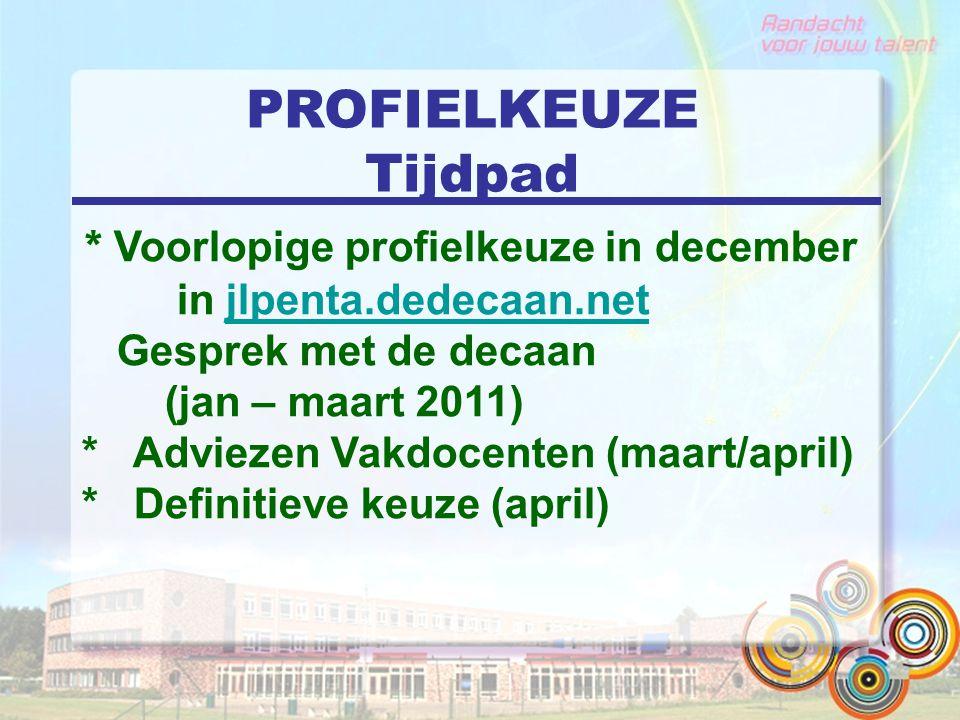PROFIELKEUZE Tijdpad * Voorlopige profielkeuze in december