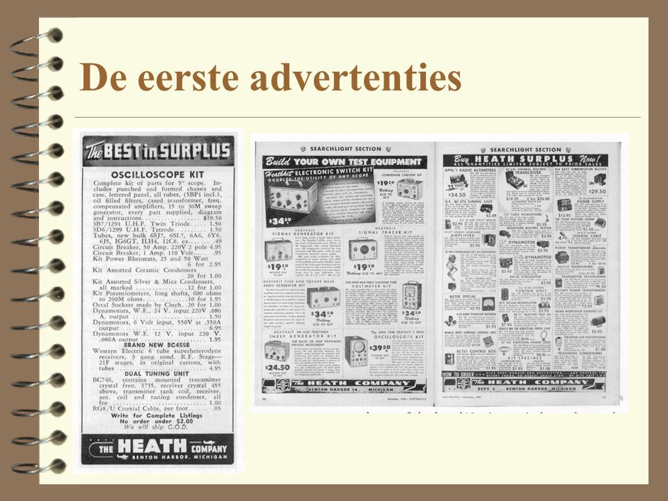 De eerste advertenties