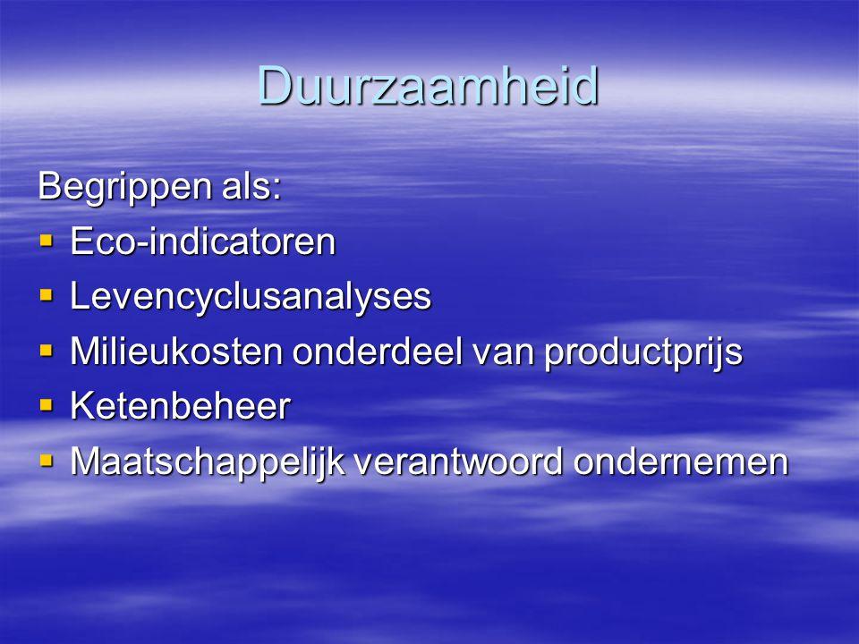 Duurzaamheid Begrippen als: Eco-indicatoren Levencyclusanalyses