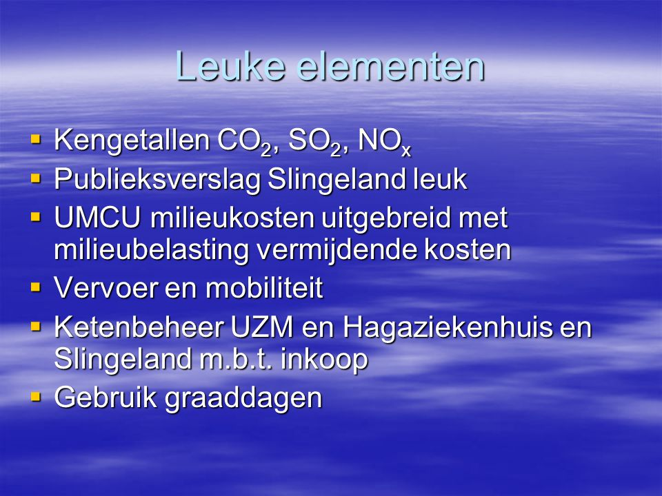 Leuke elementen Kengetallen CO2, SO2, NOx