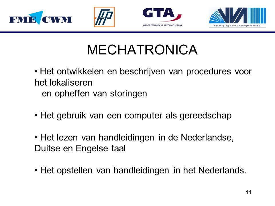 MECHATRONICA Het ontwikkelen en beschrijven van procedures voor het lokaliseren en opheffen van storingen.