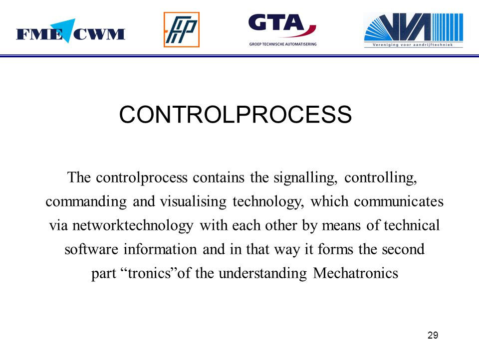 CONTROLPROCESS The controlprocess contains the signalling, controlling, commanding and visualising technology, which communicates.