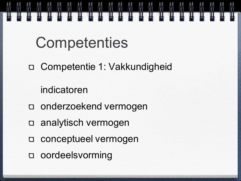 Competenties Competentie 1: Vakkundigheid indicatoren