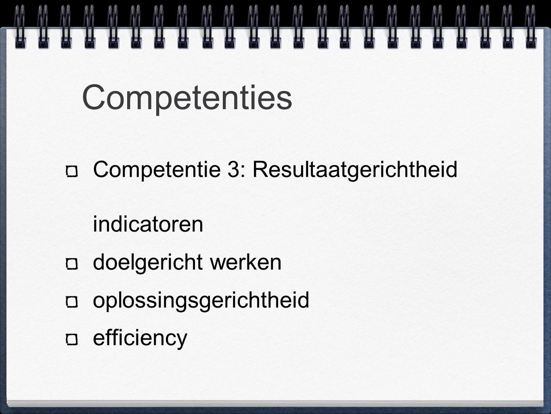 Competenties Competentie 3: Resultaatgerichtheid indicatoren