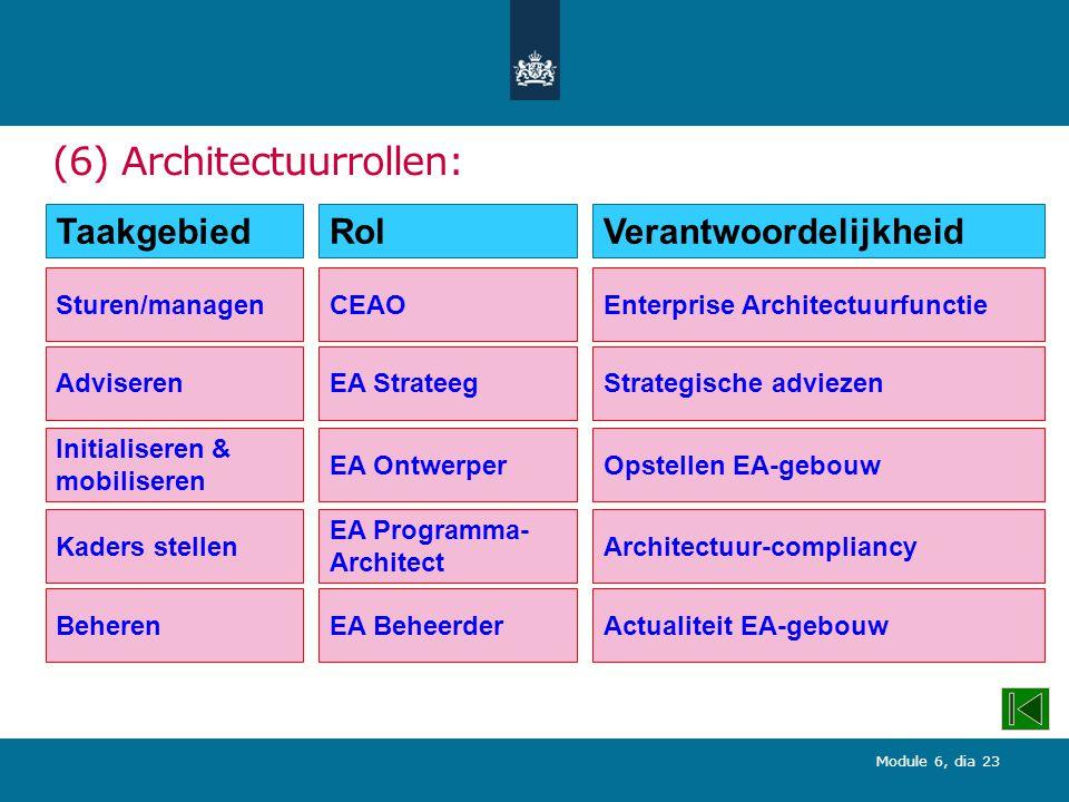 (6) Architectuurrollen:
