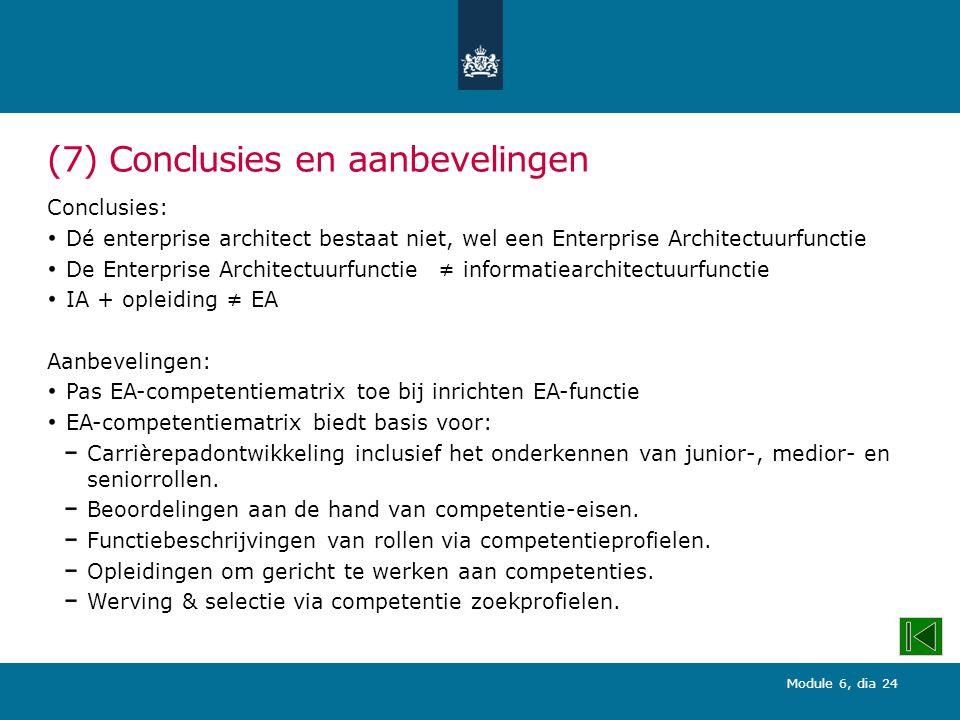 (7) Conclusies en aanbevelingen