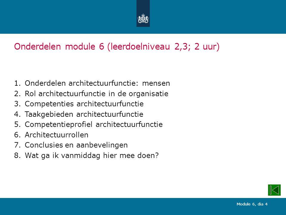 Onderdelen module 6 (leerdoelniveau 2,3; 2 uur)
