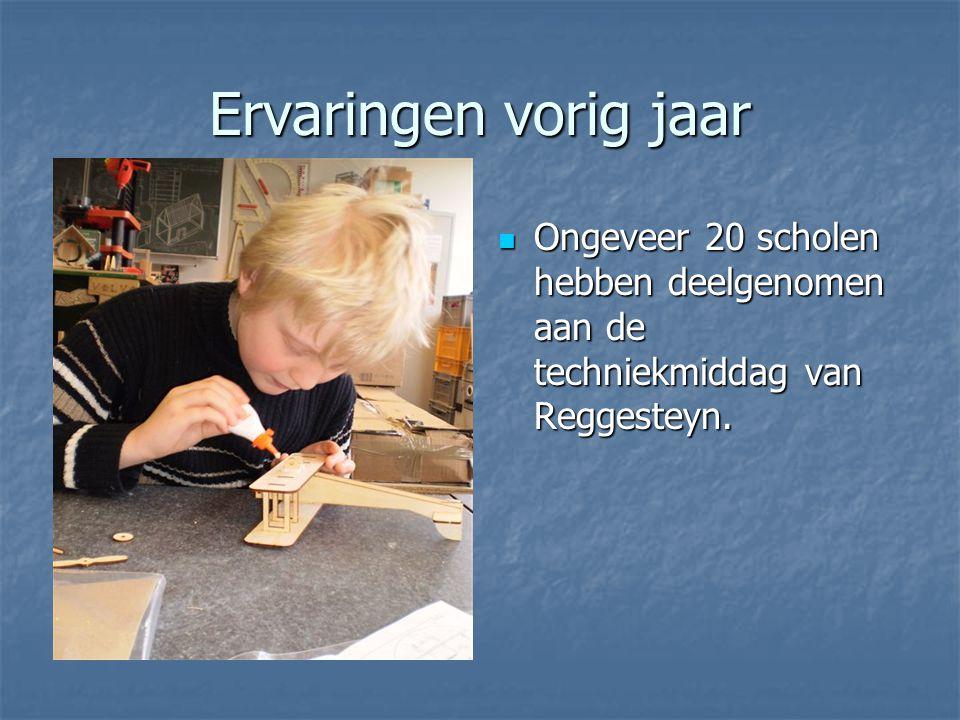Ervaringen vorig jaar Ongeveer 20 scholen hebben deelgenomen aan de techniekmiddag van Reggesteyn.