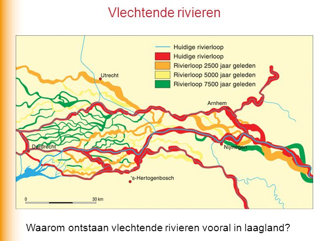 Vlechtende rivieren Waarom ontstaan vlechtende rivieren vooral in laagland