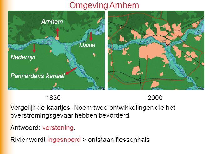 Omgeving Arnhem Arnhem. IJssel. Nederrijn. Pannerdens kanaal. 1830. 2000.