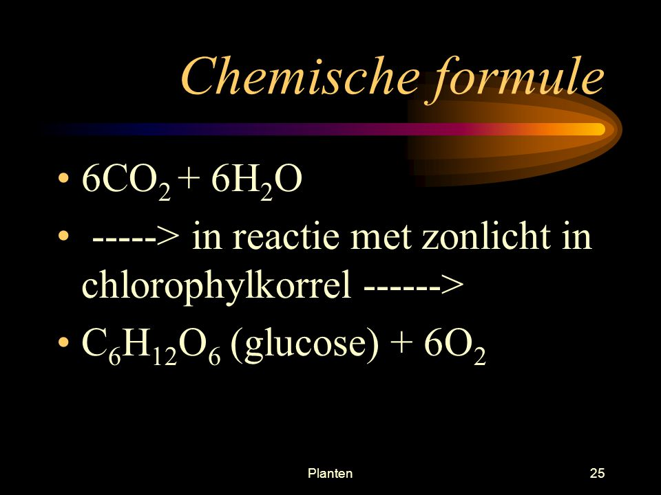 Chemische formule 6CO2 + 6H2O