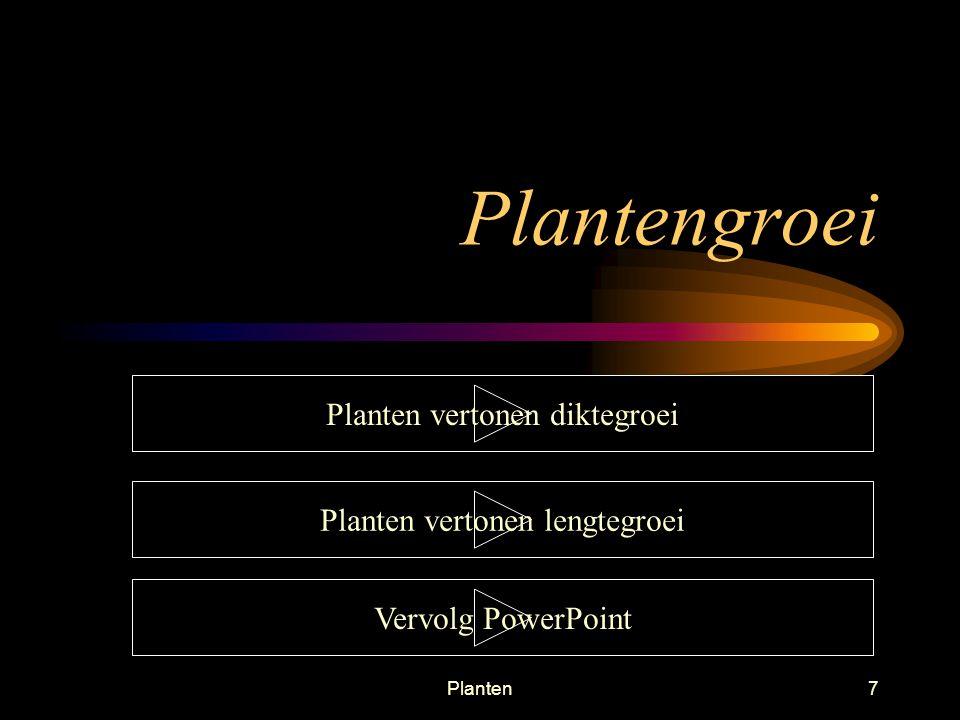 Plantengroei Planten vertonen diktegroei Planten vertonen lengtegroei