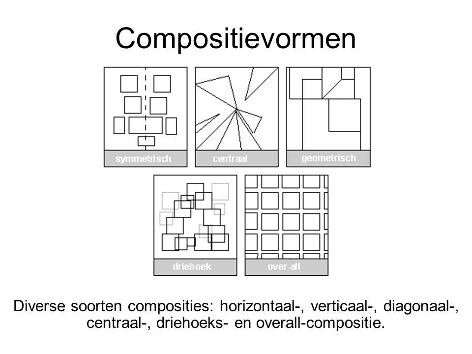 Compositievormen Diverse soorten composities: horizontaal-, verticaal-, diagonaal-, centraal-, driehoeks- en overall-compositie.