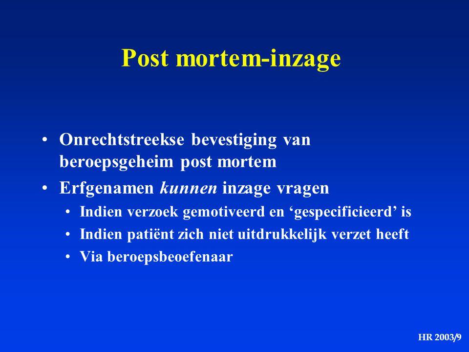 Post mortem-inzage Onrechtstreekse bevestiging van beroepsgeheim post mortem. Erfgenamen kunnen inzage vragen.