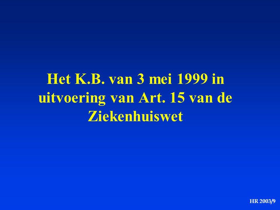Het K.B. van 3 mei 1999 in uitvoering van Art. 15 van de Ziekenhuiswet