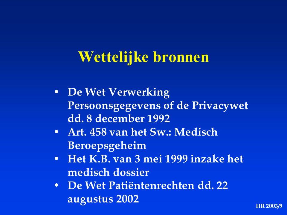 Wettelijke bronnen De Wet Verwerking Persoonsgegevens of de Privacywet dd. 8 december 1992. Art. 458 van het Sw.: Medisch Beroepsgeheim.