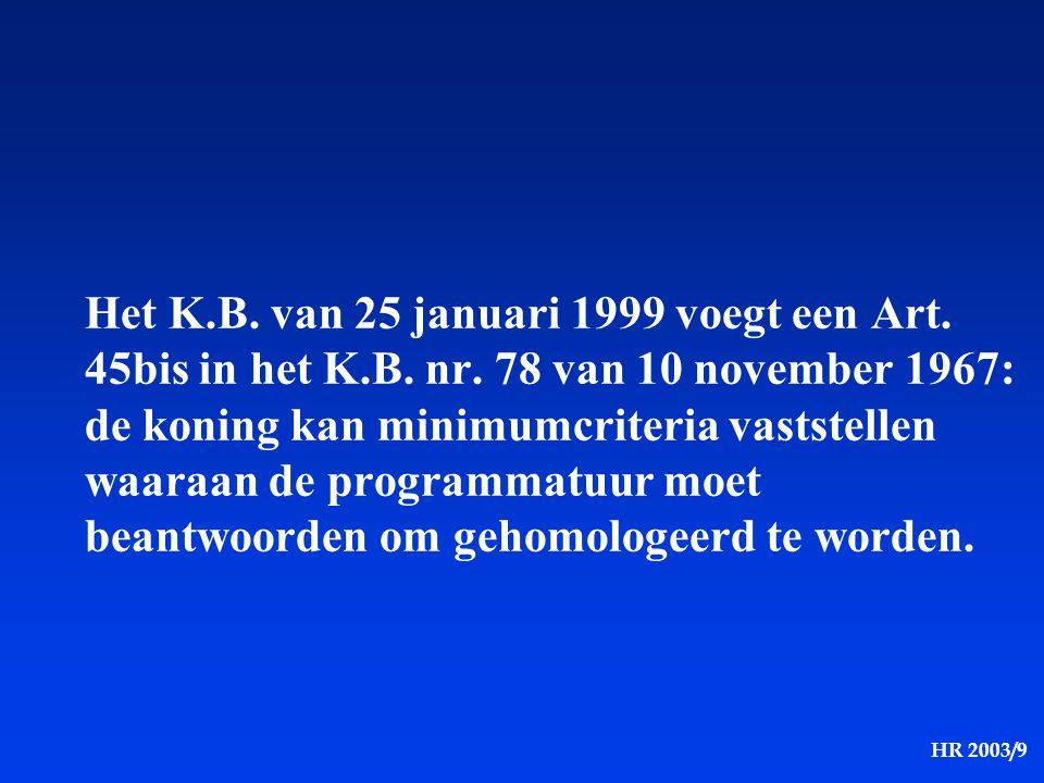 Het K. B. van 25 januari 1999 voegt een Art. 45bis in het K. B. nr
