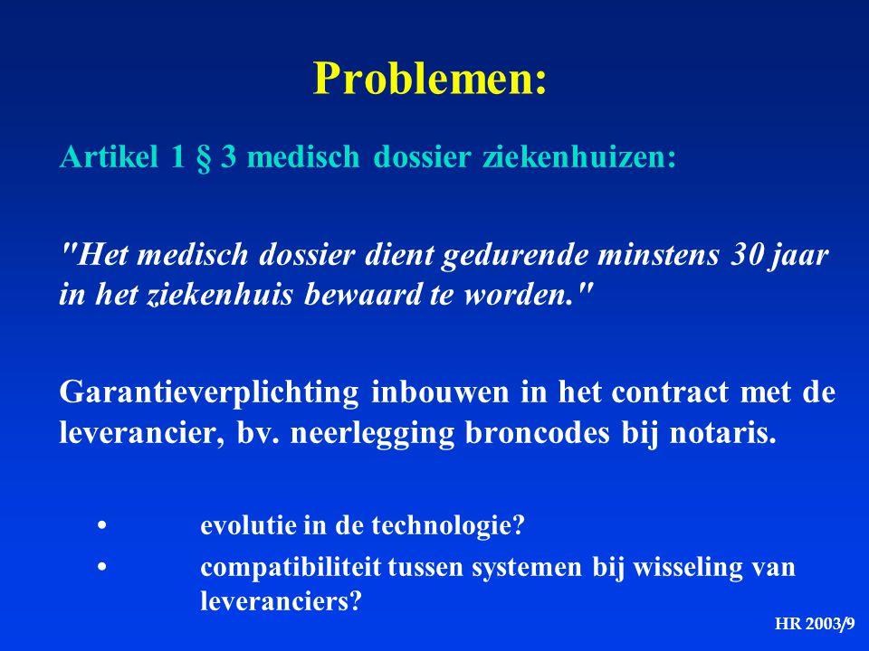 Problemen: Artikel 1 § 3 medisch dossier ziekenhuizen: