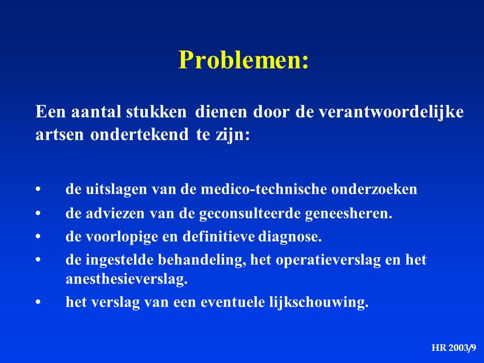 Problemen: Een aantal stukken dienen door de verantwoordelijke artsen ondertekend te zijn: • de uitslagen van de medico-technische onderzoeken.