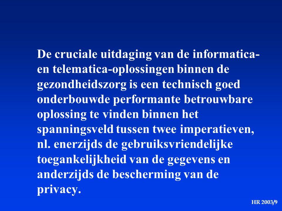 De cruciale uitdaging van de informatica- en telematica-oplossingen binnen de gezondheidszorg is een technisch goed onderbouwde performante betrouwbare oplossing te vinden binnen het spanningsveld tussen twee imperatieven, nl.