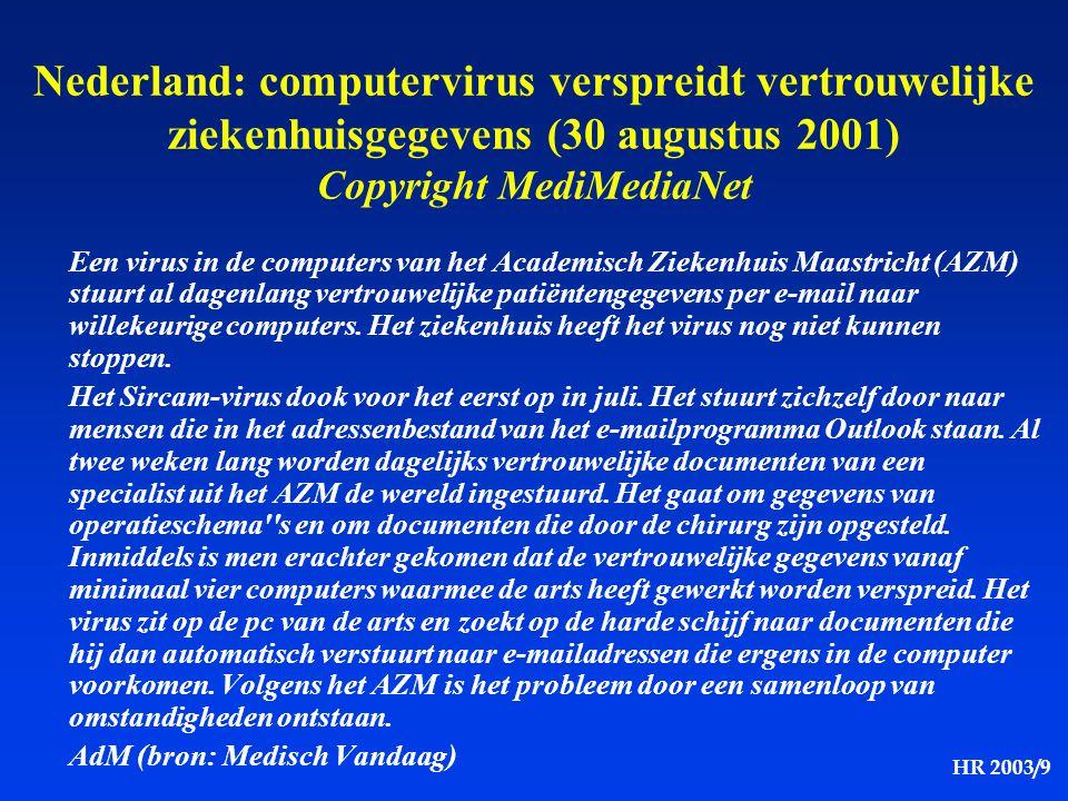 Nederland: computervirus verspreidt vertrouwelijke ziekenhuisgegevens (30 augustus 2001) Copyright MediMediaNet