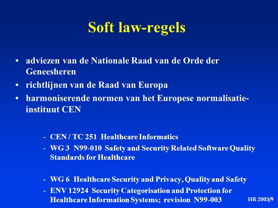 Soft law-regels • adviezen van de Nationale Raad van de Orde der Geneesheren. • richtlijnen van de Raad van Europa.