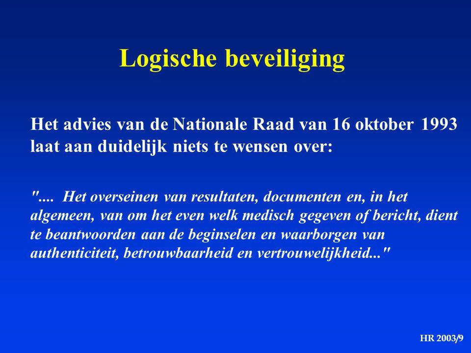 Logische beveiliging Het advies van de Nationale Raad van 16 oktober 1993 laat aan duidelijk niets te wensen over: