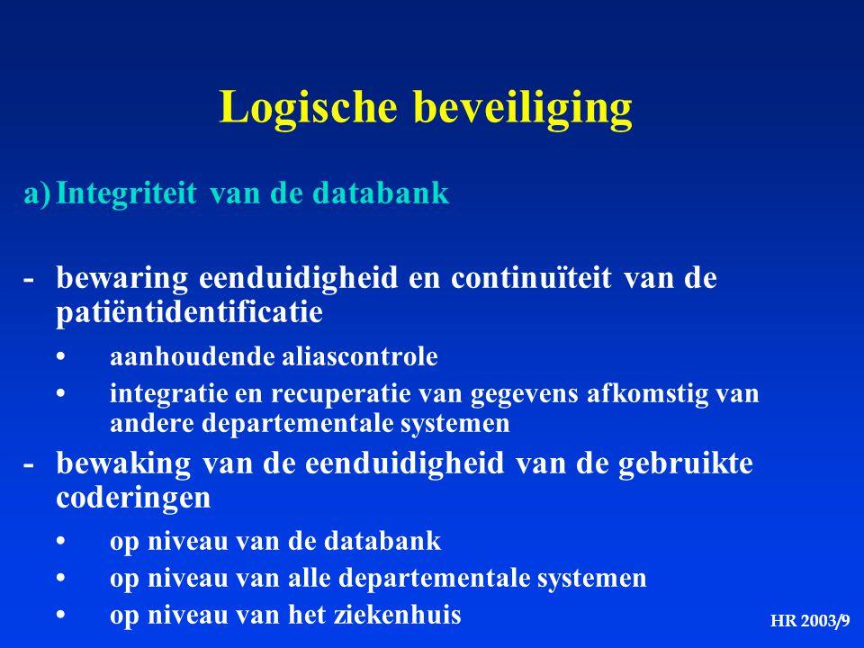 Logische beveiliging a) Integriteit van de databank