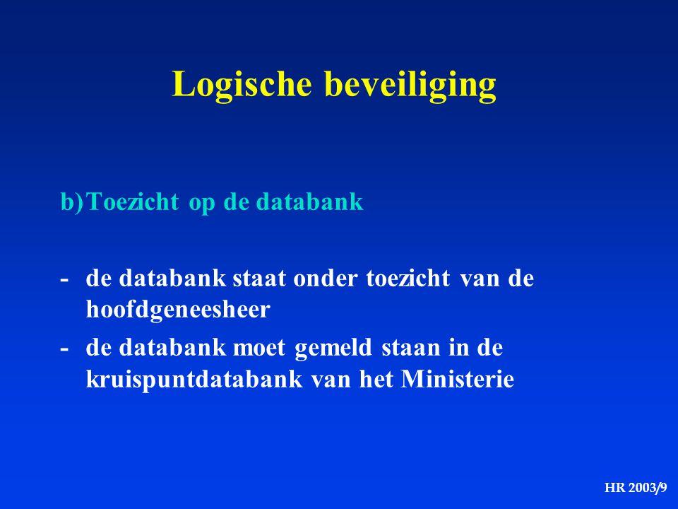 Logische beveiliging b) Toezicht op de databank
