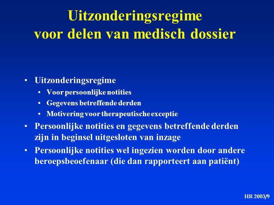 Uitzonderingsregime voor delen van medisch dossier