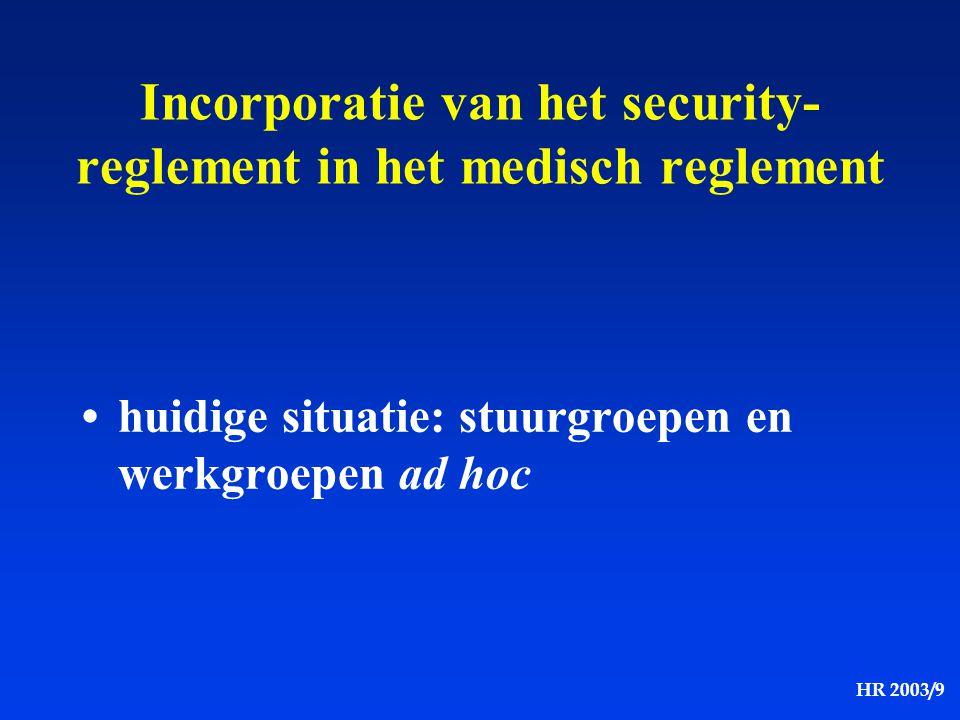 Incorporatie van het security-reglement in het medisch reglement