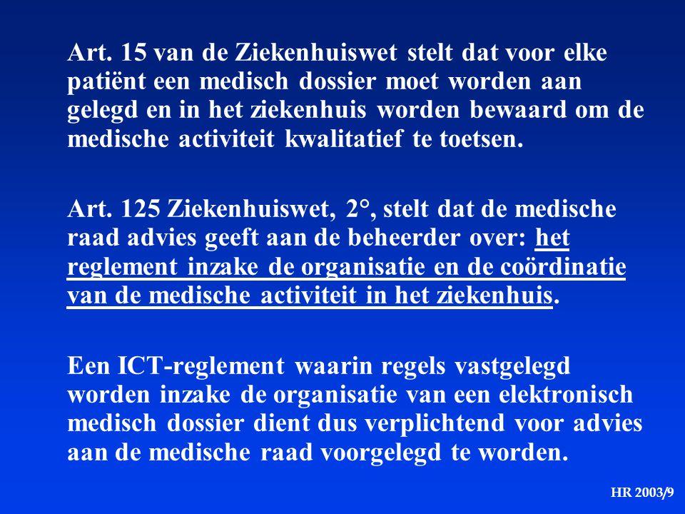 Art. 15 van de Ziekenhuiswet stelt dat voor elke patiënt een medisch dossier moet worden aan gelegd en in het ziekenhuis worden bewaard om de medische activiteit kwalitatief te toetsen.