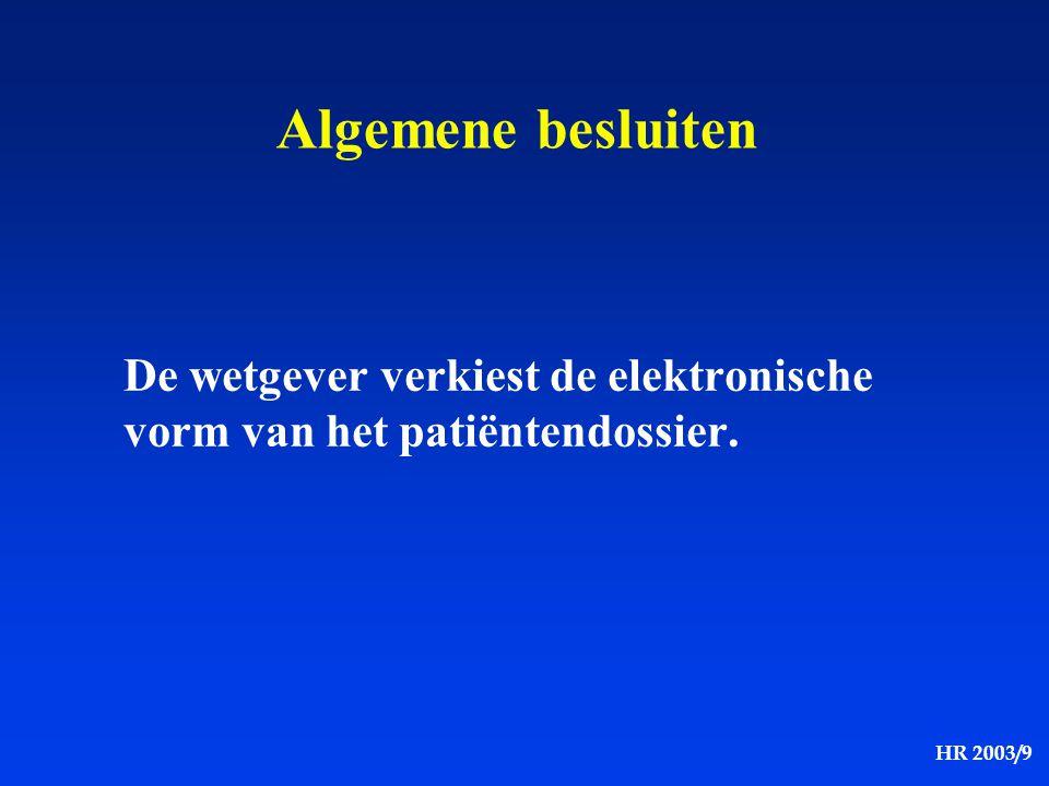 Algemene besluiten De wetgever verkiest de elektronische vorm van het patiëntendossier.