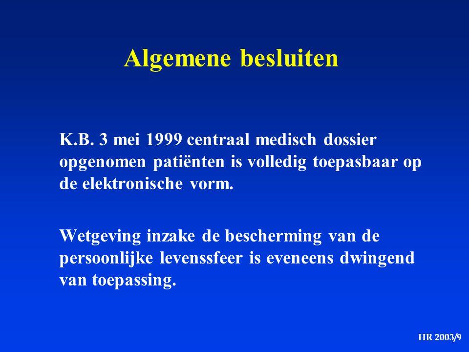 Algemene besluiten K.B. 3 mei 1999 centraal medisch dossier opgenomen patiënten is volledig toepasbaar op de elektronische vorm.