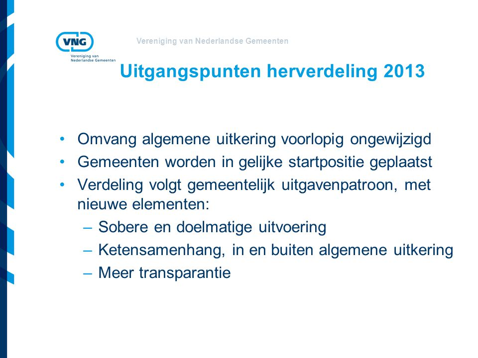 Uitgangspunten herverdeling 2013