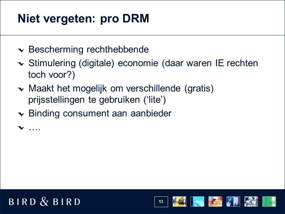 Niet vergeten: pro DRM Bescherming rechthebbende