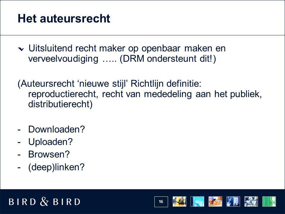 Het auteursrecht Uitsluitend recht maker op openbaar maken en verveelvoudiging ….. (DRM ondersteunt dit!)