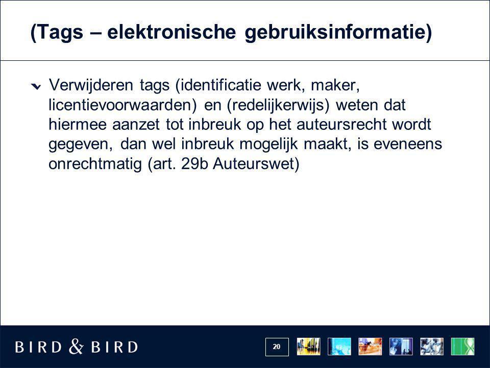 (Tags – elektronische gebruiksinformatie)