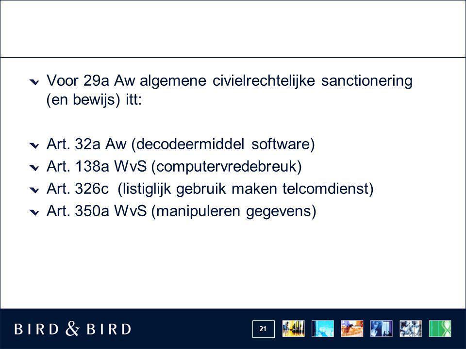 Voor 29a Aw algemene civielrechtelijke sanctionering (en bewijs) itt: