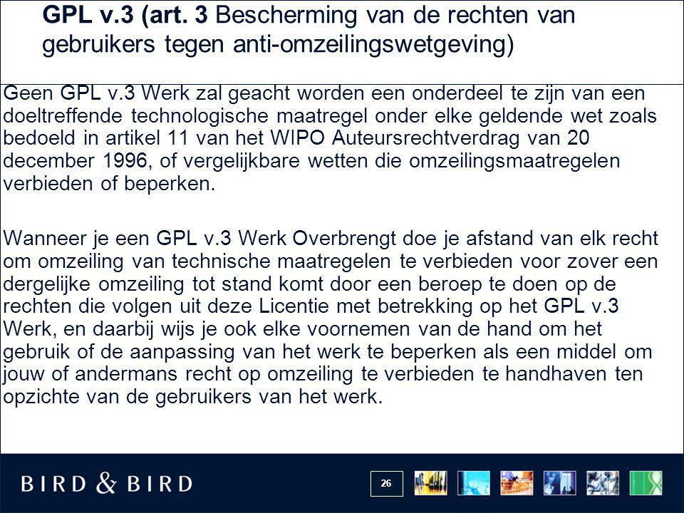 GPL v.3 (art. 3 Bescherming van de rechten van gebruikers tegen anti-omzeilingswetgeving)
