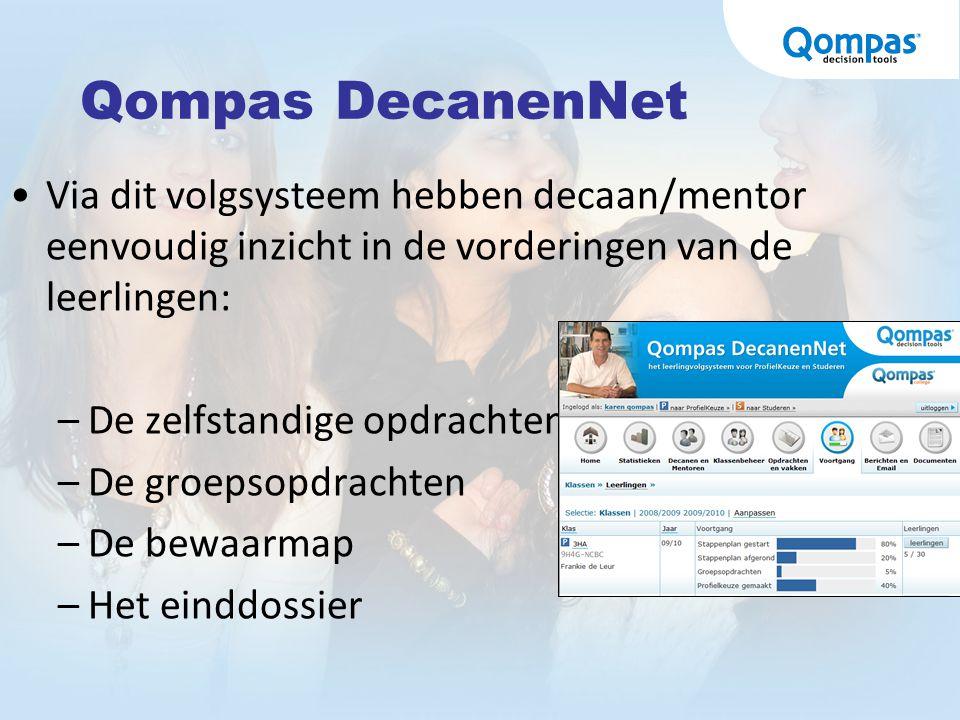 Qompas DecanenNet Via dit volgsysteem hebben decaan/mentor eenvoudig inzicht in de vorderingen van de leerlingen:
