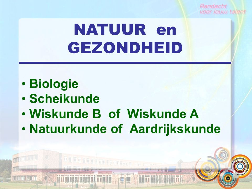 NATUUR en GEZONDHEID Biologie Scheikunde Wiskunde B of Wiskunde A