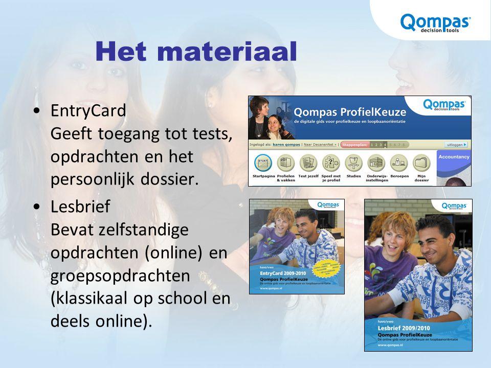 Het materiaal EntryCard Geeft toegang tot tests, opdrachten en het persoonlijk dossier.