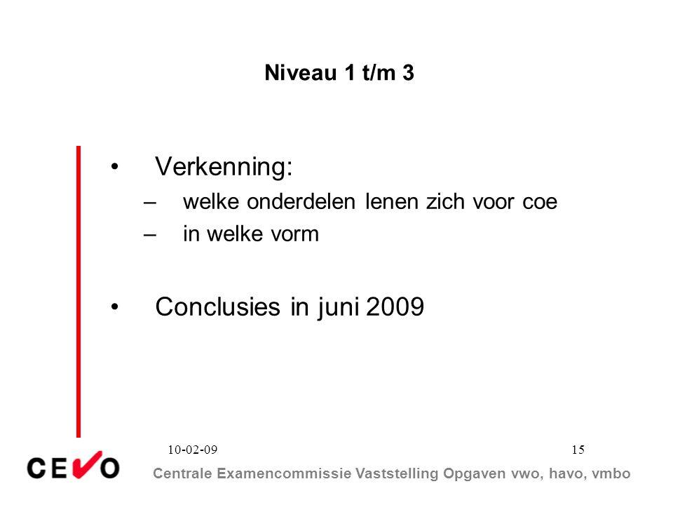 Verkenning: Conclusies in juni 2009 Niveau 1 t/m 3