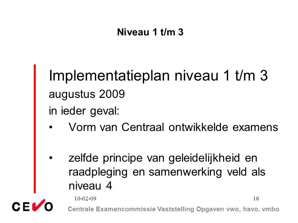Implementatieplan niveau 1 t/m 3