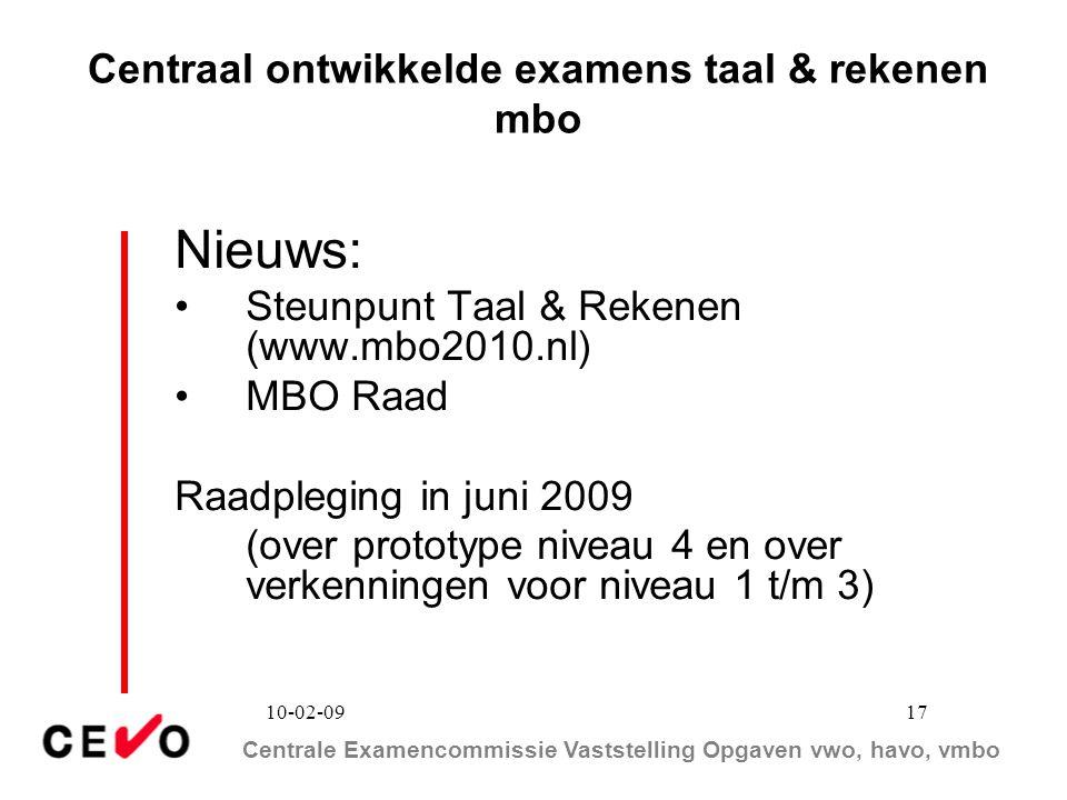 Centraal ontwikkelde examens taal & rekenen mbo