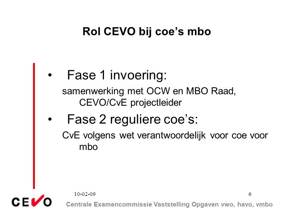 Fase 1 invoering: Fase 2 reguliere coe's: Rol CEVO bij coe's mbo