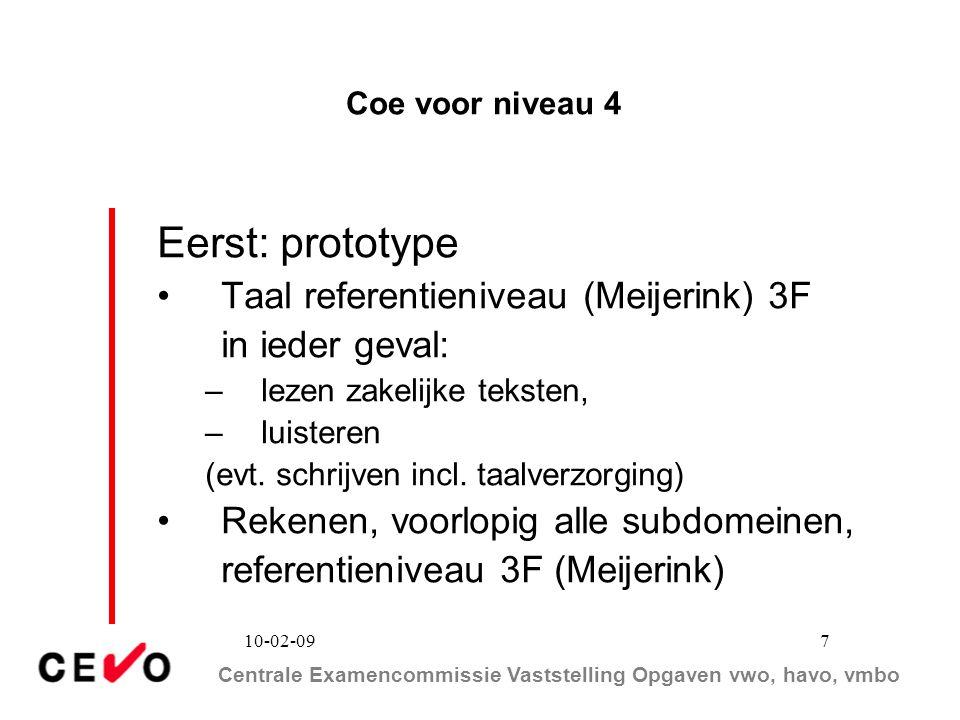 Eerst: prototype Taal referentieniveau (Meijerink) 3F in ieder geval: